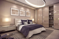 3D rendering bedroom house in the mountain Royalty Free Stock Photography