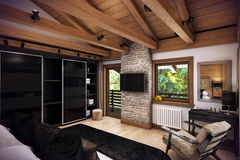 3D rendering bedroom house in the mountain Stock Image