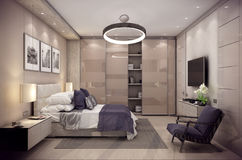 3D rendering bedroom house in the mountain. 3D rendering cozy bedroom is in the attic of a chalet. Huge bed with numerous pillows is dominates the room. The Stock Images