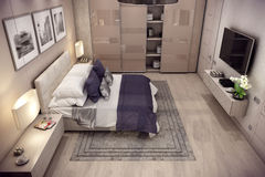3D rendering bedroom house in the mountain Stock Photos