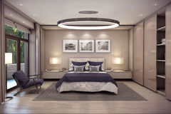 3D rendering bedroom house in the mountain Royalty Free Stock Photos