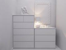 3d rendering  bedroom interior design. 3d illustration bedroom interior design. Modern studio apartment in the Scandinavian minimalist style Stock Photo