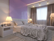 3d rendering of bedroom interior design in a modern style. 3d illustration of bedroom interior design in a modern style. Bedroom in beige colors with purple Royalty Free Stock Photo
