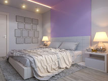 3d rendering of bedroom interior design in a modern style. 3d illustration of bedroom interior design in a modern style. Bedroom in beige colors with purple Royalty Free Stock Images
