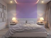 3d rendering of bedroom interior design in a modern style. 3d illustration of bedroom interior design in a modern style. Bedroom in beige colors with purple Stock Images