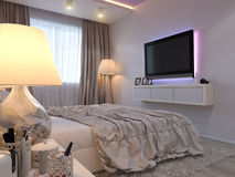 3d rendering of bedroom interior design in a modern style. Stock Photo
