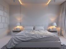 3d rendering of bedroom interior design in a modern style. 3d illustration of bedroom interior design in a modern style. Bedroom without color Stock Photos