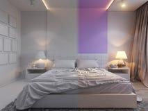 3d rendering of bedroom interior design in a modern style. 3d illustration of bedroom interior design in a modern style. Bedroom without color Stock Images
