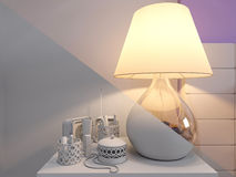 3d rendering of bedroom interior design in a modern style. 3d illustration of bedroom interior design in a modern style. Bedroom without color and shaders Stock Photos