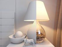 3d rendering of bedroom interior design in a modern style. 3d illustration of bedroom interior design in a modern style. Bedroom without color and shaders Stock Photo