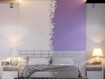 3d rendering of bedroom interior design in a modern style. 3d illustration of bedroom interior design in a modern style. Bedroom without color and shaders Royalty Free Stock Photos