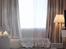 3d rendering of bedroom interior design in a modern style. 3d illustration of bedroom interior design in a modern style. Bedroom without color and shaders Stock Images