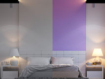 3d rendering of bedroom interior design in a modern style. 3d illustration of bedroom interior design in a modern style. Bedroom without color and shaders. Two Stock Photos