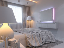 3d rendering of bedroom interior design in a modern style. Stock Image