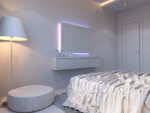3d rendering of bedroom interior design in a modern style. 3d illustration of bedroom interior design in a modern style. Bedroom without color on the wall Stock Photography