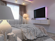 3d rendering of bedroom interior design in a modern style. 3d illustration of bedroom interior design in a modern style. Bedroom without color on the wall Royalty Free Stock Images