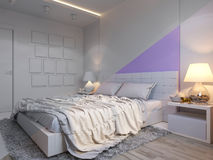 3d rendering of bedroom interior design in a modern style. 3d illustration of bedroom interior design in a modern style. Bedroom without color on the wall Royalty Free Stock Photos