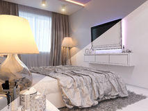 3d rendering of bedroom interior design in a modern style. 3d illustration of bedroom interior design in a modern style. Bedroom displayed in the polygon mesh Royalty Free Stock Photos