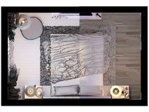 3d rendering of bedroom interior design in a modern style. 3d illustration of bedroom interior design in a modern style. Bedroom displayed in the polygon mesh Stock Image