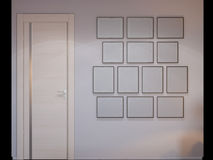 3d rendering of bedroom interior design in a modern style. 3d illustration of bedroom interior design in a modern style. A picture frame wall Royalty Free Stock Photo