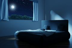 3d rendering of bedroom with unmade and rumpled bed in the full. Moon night Royalty Free Stock Images