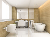 3d rendering beech wood and white minimal bathroom and toilet Stock Photos