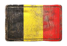 Old Belgium flag. 3d rendering of a Belgium flag over a rusty metallic plate. Isolated on white background Royalty Free Stock Image