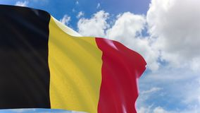 3D rendering of Belgium flag waving on blue sky background with Alpha channel can change background later stock video footage