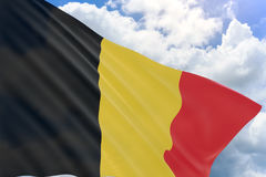 3D rendering of Belgium flag waving on blue sky background. Previously known as Southern Netherlands, Belgian National Day is a festive public holiday Stock Photography