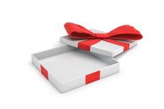 3d rendering biały płaski prezenta pudełko z czerwonym łękiem na białym tle z rozpieczętowanym deklem Fotografia Royalty Free