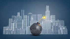 3d rendering of a big black iron bomb with a lit fuse stands in front of a blackboard with a cityscape drawing. Explosion danger. Fear for property. Money and Royalty Free Stock Image