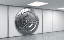 3D rendering of a big locked round metal safe. In a bank depository,  a concept of security Royalty Free Stock Image
