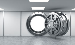 3D rendering of a big open round metal safe in a bank depository Royalty Free Stock Photography