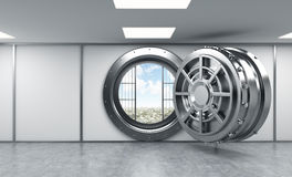 3D rendering of a big open round metal safe in a bank depository Stock Photos