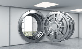 3D rendering of a big open round metal safe in a bank depository. With heaps of dollars behind bars, a concept of prosperity and opportunity Royalty Free Stock Photo
