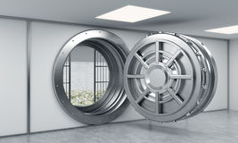 3D rendering of a big open round metal safe in a bank depository. With lock-boxes and money on the floor behind bars, a concept of saving money Stock Images