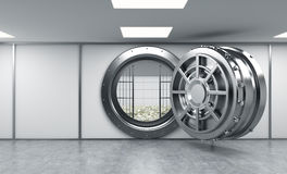 3D rendering of a big open round metal safe in a bank depository. With lock-boxes and money on the floor behind bars, a concept of saving money Stock Image