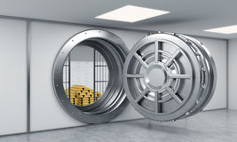 3D rendering of a big open round metal safe in a bank depository Stock Photo
