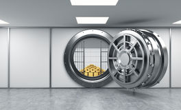 3D rendering of a big open round metal safe in a bank depository. With locked lock-boxes and  a pyramid of gold bars,front view, a concept of affluence Stock Photography
