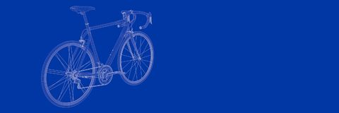 3d rendering of a bike on a blue background blueprint. Shape Stock Photo