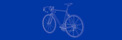 3d rendering of a bike on a blue background blueprint. Shape Royalty Free Stock Photos