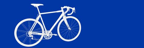 3d rendering of a bike on a blue background blueprint. Shape Stock Photography