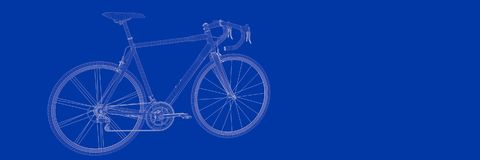 3d rendering of a bike on a blue background blueprint. Shape Stock Photos