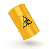 3D rendering biohazard barrel. 3D rendering yellow barrel with biologically hazardous materials Royalty Free Stock Images