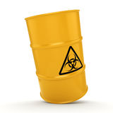 3D rendering biohazard barrel. 3D rendering yellow barrel with biologically hazardous materials Stock Image