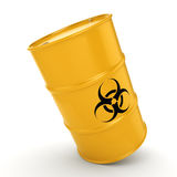 3D rendering biohazard barrel. 3D rendering yellow barrel with biologically hazardous materials Royalty Free Stock Photography