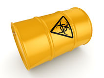 3D rendering biohazard barrel. 3D rendering yellow barrel with biologically hazardous materials Royalty Free Stock Photos