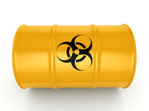 3D rendering biohazard barrel. 3D rendering yellow barrel with biologically hazardous materials Stock Images