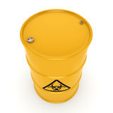 3D rendering biohazard barrel. 3D rendering yellow barrel with biologically hazardous materials Royalty Free Stock Image