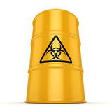 3D rendering biohazard barrel. 3D rendering yellow barrel with biologically hazardous materials Stock Photography